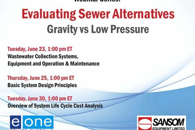 Sansom and E/One Evaluating Sewer Alternatives Webinar Series Graphic